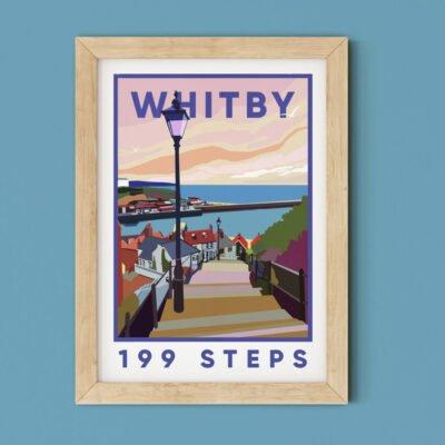 Whitby 199 Steps, Travel Poster Print