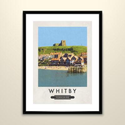 Whitby Harbour Retro Style Print