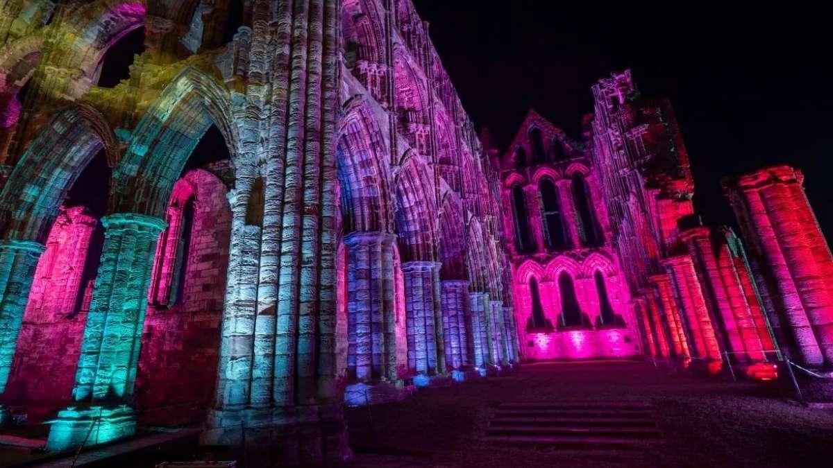 Illuminated Whitby Abbey Colours