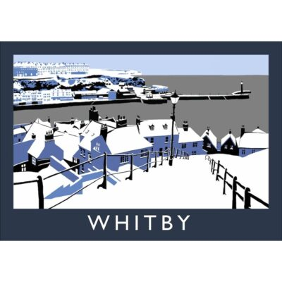 199 Steps In The Snow Whitby Art Print By Richard O'Neill